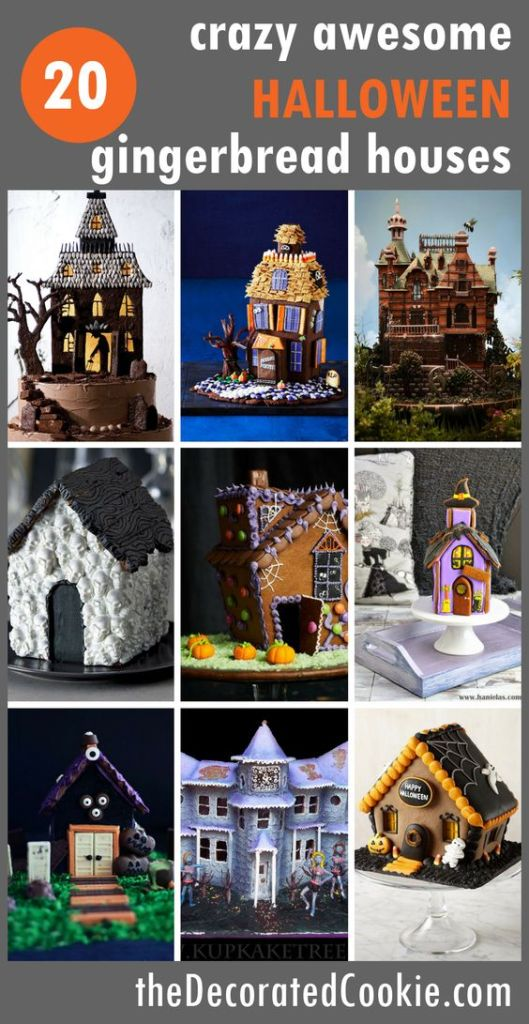Pin Ups and Link Love: Halloween Gingerbread Houses   knittedbliss.com