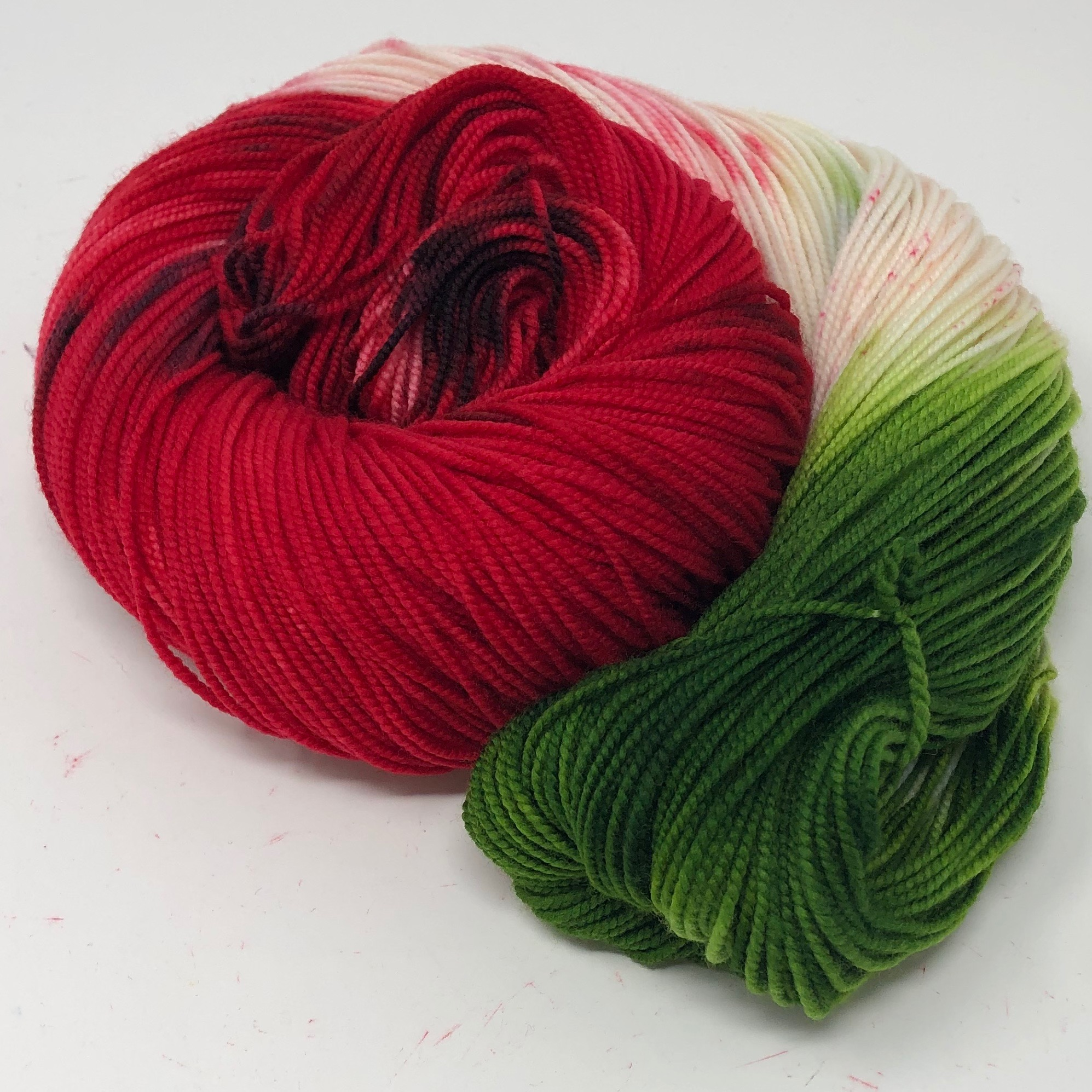 A skein of our Seed Spitting Contest, the colorway we created to celebrate National Watermelon Day