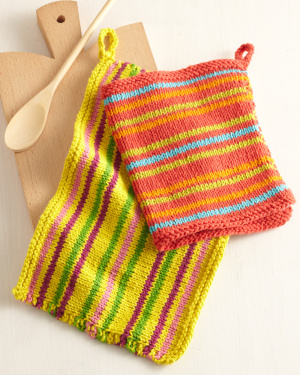 bright stripes dishcloth