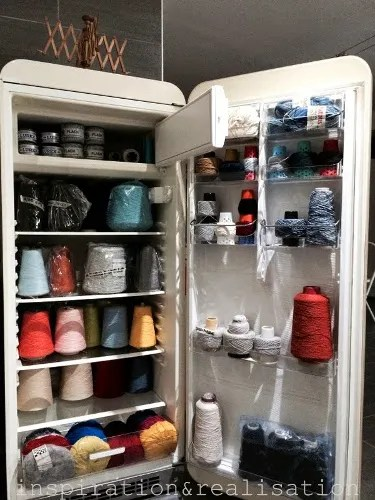 You got to see this amazing refrigerator turned yarn storage!
