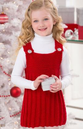 knit a cute red jumper for a little girl - Red Dress For Christmas