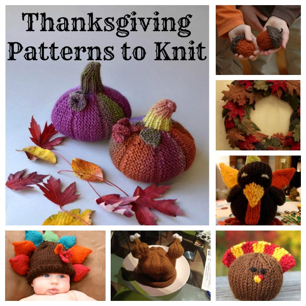 Cute patterns to knit for Thanksgiving and fall.