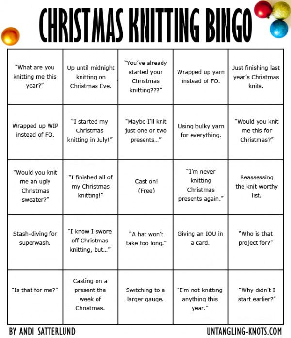 Christmas Knitting Bingo! Do you have a bingo yet?