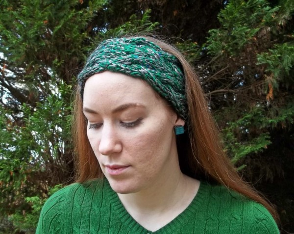 This pretty braided cable headband can be knit in an hour or less.