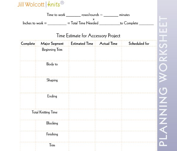knitting planning worksheet