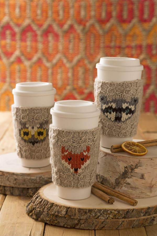 Knit A Sweet Coffee Cozy With A Woodland Creature Knitting