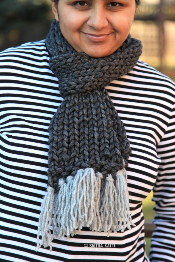 knit a quick stockinette scarf in no time