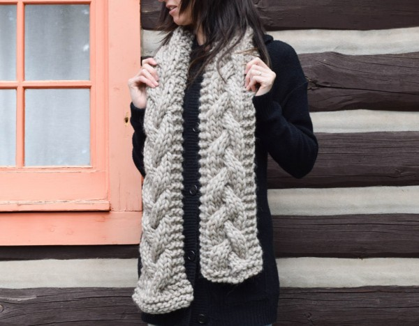 chunky cabled scarf free knitting pattern