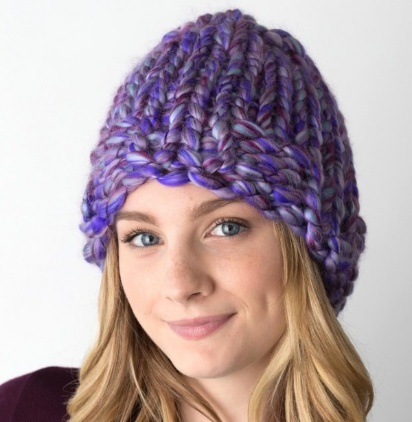 purple loom knit hat