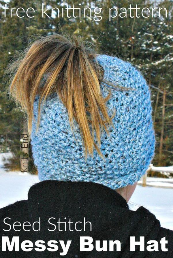messy bun hat knitting pattern