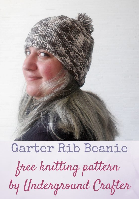 Garter rib beanie free knitting pattern in eight sizes.