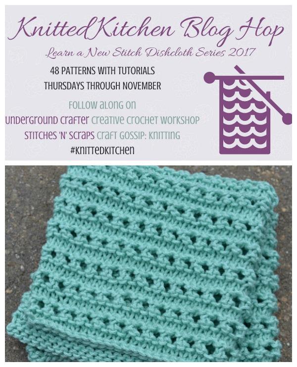 Ridged Ribbon Eyelet Dishcloth Knitted Kitchen Blog Hop