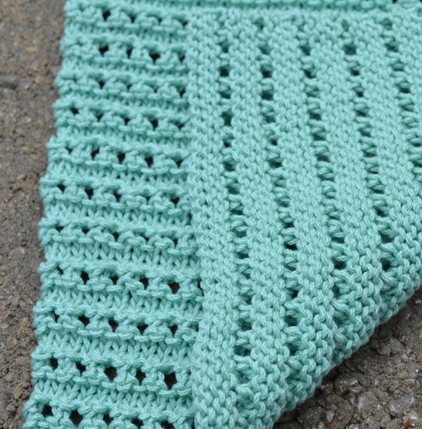 KNit the ridged ribbon eyelet dishcloth, part of the Knitted Kitchen Blog Hop
