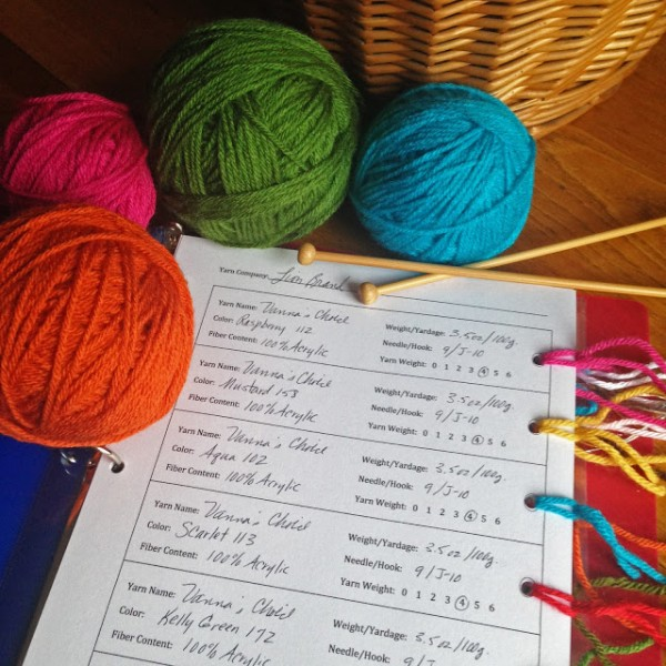 An easy way to keep track of your yarn stash.