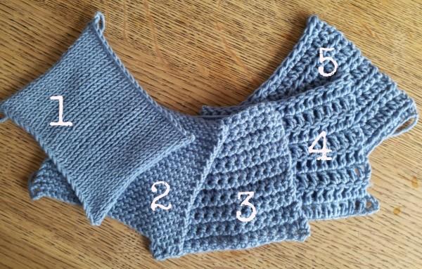 Yarn use in knitting versus crochet