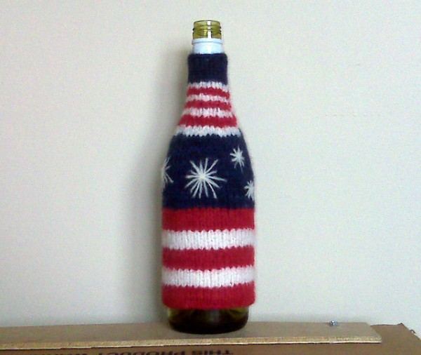 fourth of july felted bottle cozy
