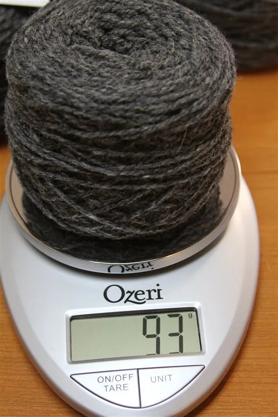 weighing yarn to determine yardage