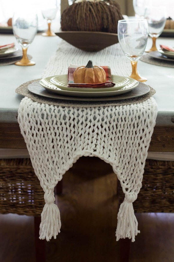 fall knit table runner