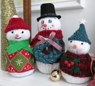 sock snowmen with knit accessories