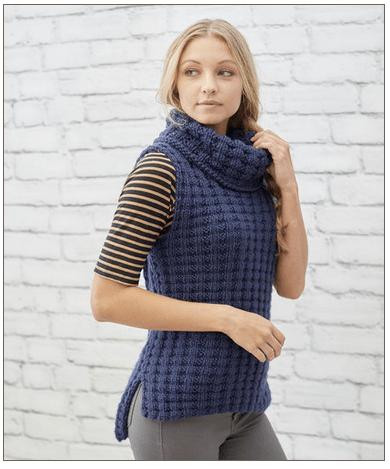 waffle stitch vest knitting pattern