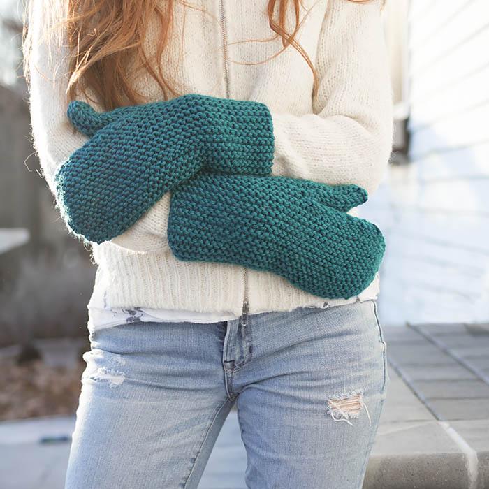 flat knit garter stitch mittens