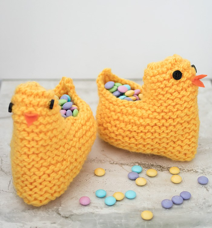Check Out This Sweet Easter Chick Basket Knitting
