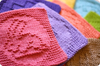 knit easter washcloths