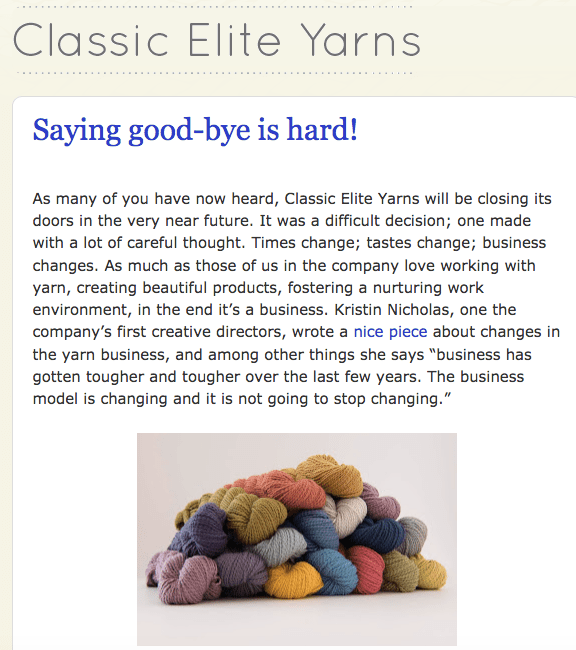 classic elite yarns closing
