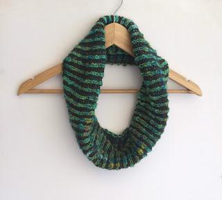 brioche knit striped cowl