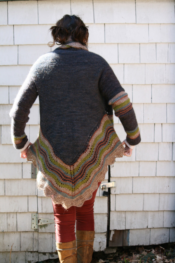 turn a shawl knitting pattern into a sweater