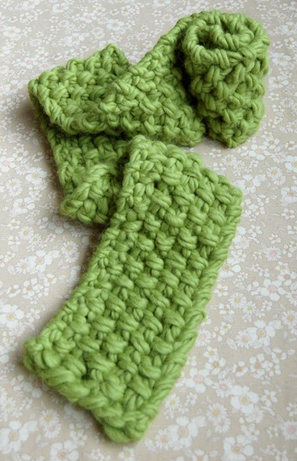 easy seed stitch knit scarf