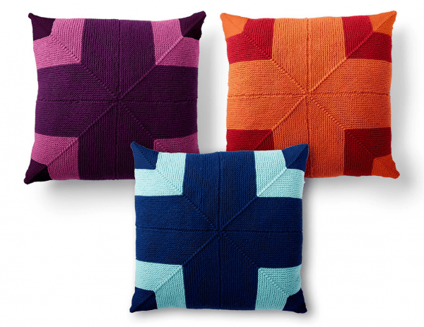 mitered square knit pillows