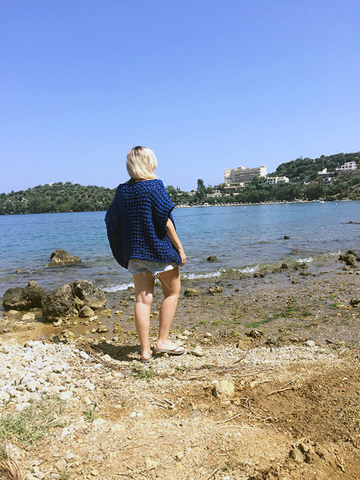 Knit a Simple Beach Poncho in Bamboo Stitch