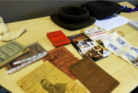Period knitting books, equipment and historical reconstructions by KHF members and delegates at the Knitting History Conference 2014