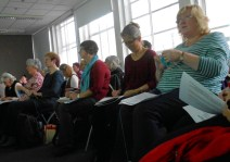 Note-taking and knitting at the Knitting History Forum Conference in November 2015