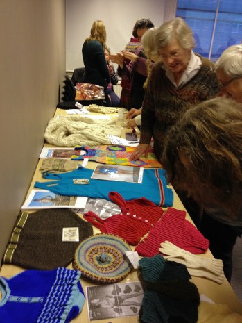Original and reproduction items brought by KHF members to the Knitting History Forum Conference in November 2015