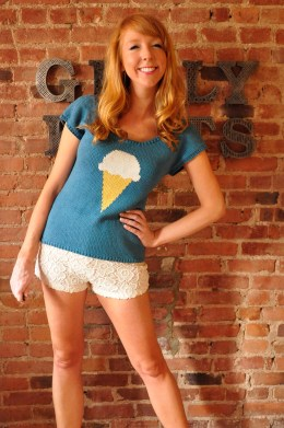 with sprinkles on top knitted ice cream t-shirt with bow back and buttons knitting pattern 2