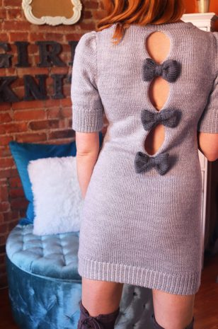 bow back dress with puff sleeves lk150 machine knitting pattern