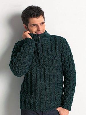 ZIP COLLAR Sweater for men - free knitting pattern