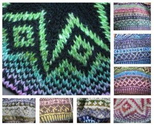 A selection of colorways used for the Three Tams pattern