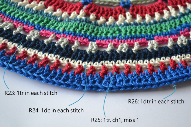 Manadala placemat free crochet pattern steps 23, 24, 25 and 26