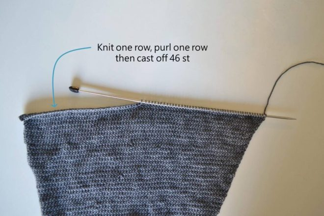 Cast off stitches to make the box shaping matching the main crop sweater panels of this free knitting pattern