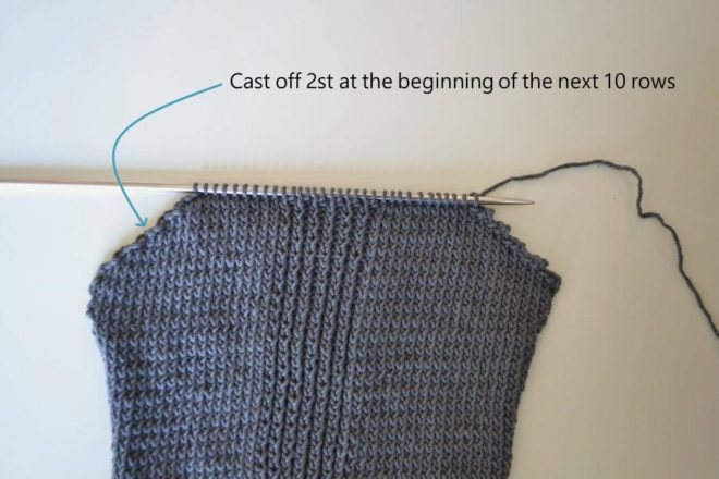 Cast off stitches on both sides to shape the neck of the sweater free pattern
