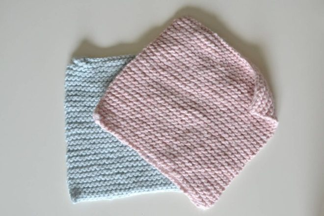 This easy knit sweater pattern is made out of simple garter stitch rectangles