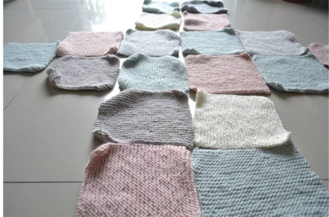 Lay the squares and rectangles for this free sweater knitting pattern flat