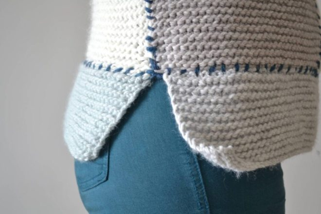 Leave the sides of the rectangles at the bottom of the easy knit sweater unseamed