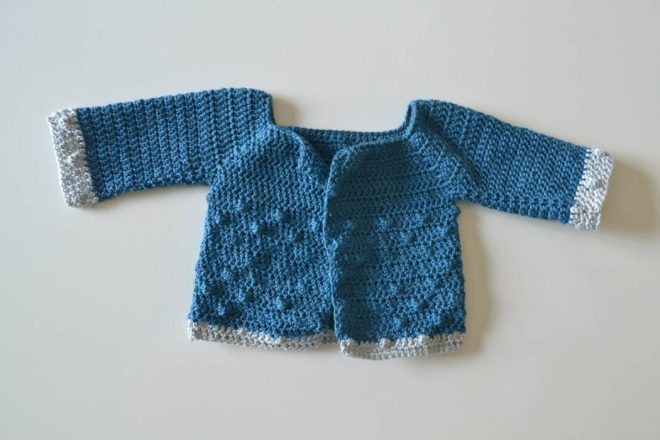 bubbly baby cardigan free crochet pattern step 15