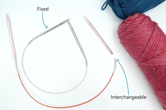 Fixed circular knitting needles versus interchangeable knitting needles