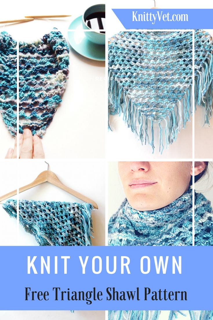 How to knit a quick and easy shawl! FREE download shawl knitting pattern from knittyvet.com.