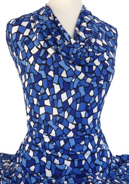 Knitwit Printed Jersey Knit Mosaic Blue